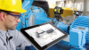 Laser shaft alignment check on tablet with tabalign by PRUFTECHNIK
